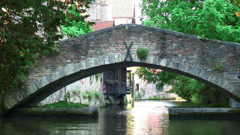 Bridge over a canal in Brugge, Belgium Live Action