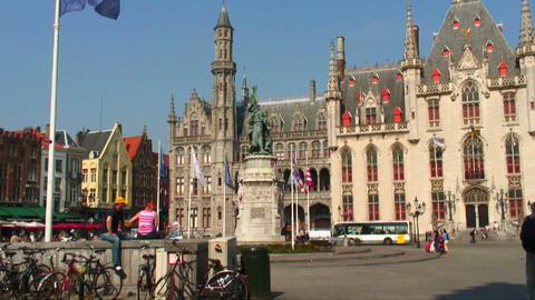 Statue in Market Square in Bruges, Belgium Live Action