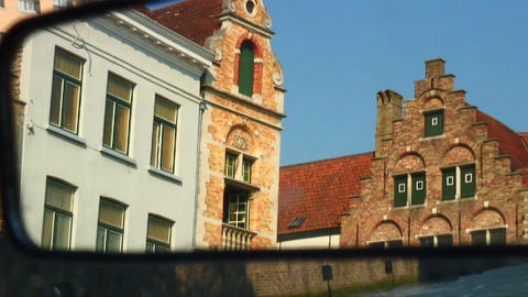 Buildings in Brugge, Belgium reflected in a mirror Live Action