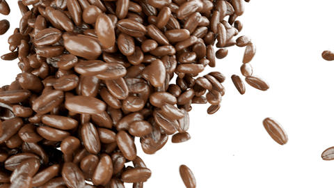 4k Roasted Coffee beans falling and mixing with alpha Animation
