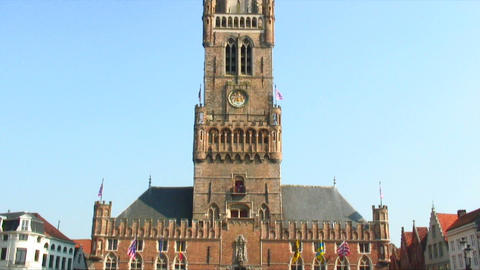 Belfry in the Market Square of Bruges, Belgium Live Action
