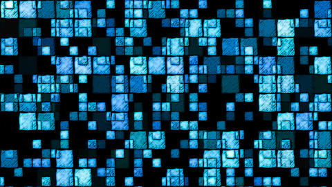 Abstract Sketchy Glowing Squares Background - Loop Blue Animation