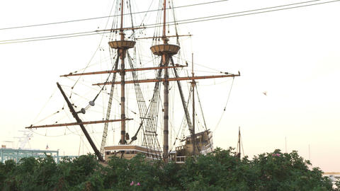 Shot of the Mayflower in Massachusetts Footage
