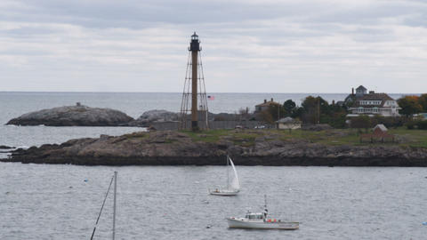 Boat sailing into Marblehead Harbor in Massachusetts Footage