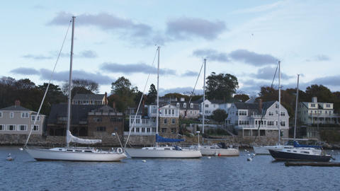 Boats moored in Rockport Harbor in Massachusetts Footage