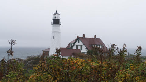 Shot of the Portland Head Light and station in Maine Footage