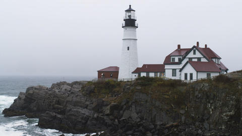 Rainy weather at the Portland Head Light in Maine Footage