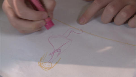 Royalty Free Stock Footage of Child drawing with crayons Footage