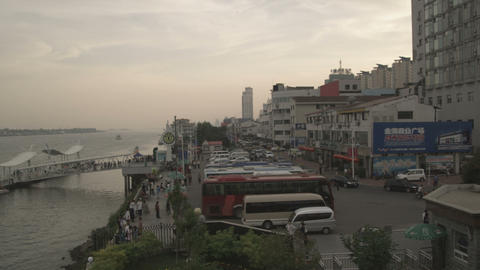 Yalu River between China and North Korea Footage