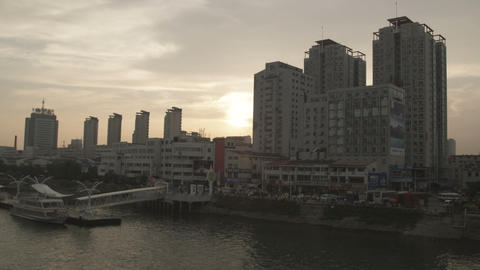 Still shot of a Chinese city skyline from a bridge Footage