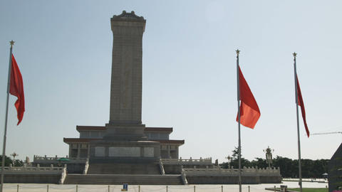 Panning shot of the Monument of the Peoples Heroes seen on a sunny day Footage
