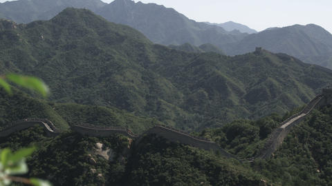Panning shot of the Great Wall of China at Badaling near Bejing, China Footage