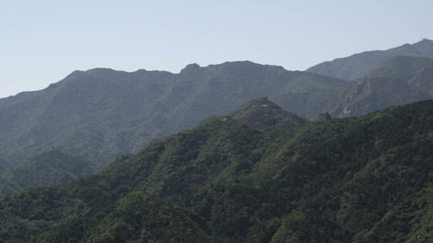 Panning shot of the mountains near the Great Wall of China at Badaling Footage