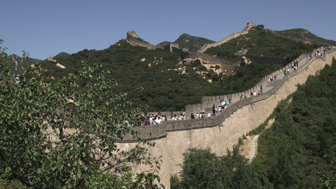 Panning shot of the Great Wall of China in the Badaling section Live Action