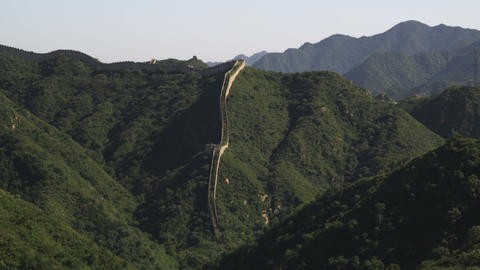 Slow panning the Great Wall of China in the distance at Badaling near Bejing, Ch Footage