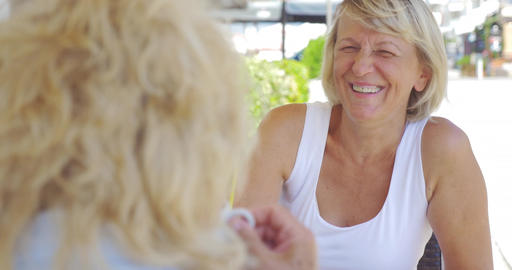 Mature women friends having drinks and talking in outdoor cafe Footage