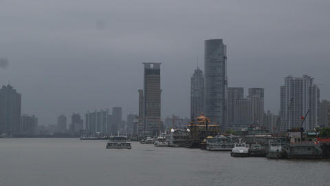 Shanghai skyscrapers along the Huangpu River Footage