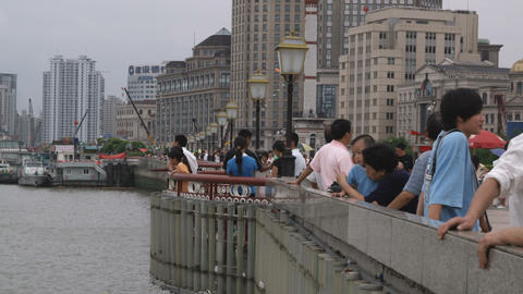 People standing at a dock in Shanghai China Footage