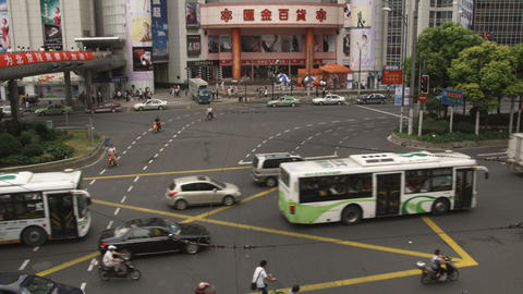 Busy intersection in downtown Shanghai China Footage