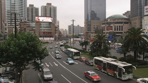 Shot of busy traffic in downtown Shanghai Footage