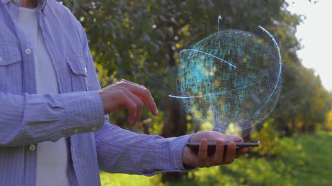 Unrecognizable man shows conceptual hologram with text Future technology Footage