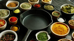 Bowls with spices and pan Stock Video Footage