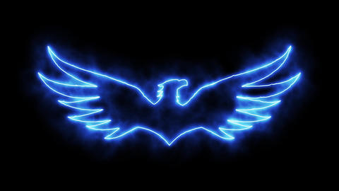 Blue Burning Eagle Animated Logo Loopable Graphic Element Animation