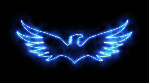 Blue Burning Eagle Animated Logo Loopable Graphic Element Stock Video Footage