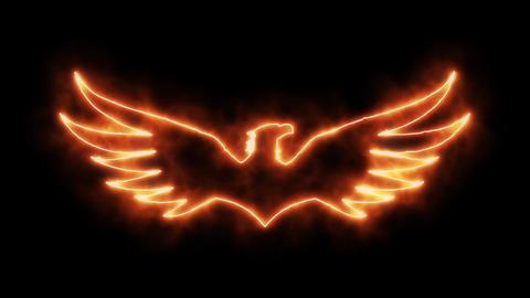 Orange Burning Eagle Animated Logo Loopable Graphic Element Animation