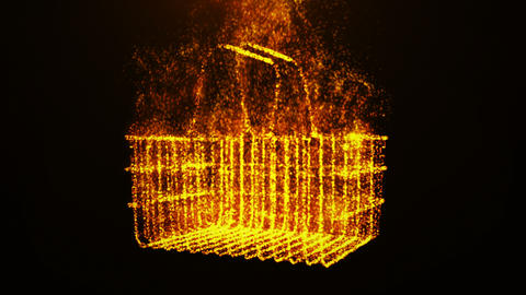 Shopping basket In Flame Footage