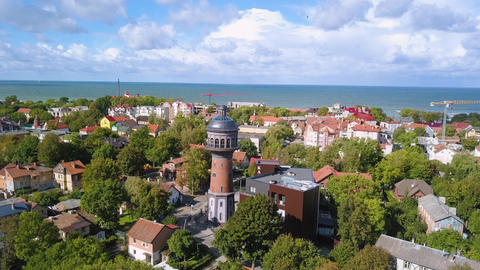 Russia, Zelenogradsk. Water tower Krantz. The city water tower was built in Footage