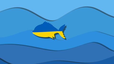 Ukraine fish ate Russia huge fish Animation