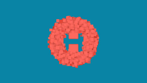 Behind the squares appears the symbol hospital symbol. In - Out. Alpha channel Animation