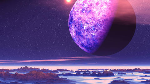 Alien Planet above the Clouds Animation