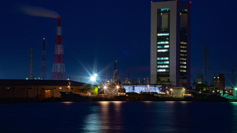 Night Time lapse near the river at the industrial area in Yokkaichi Mie Live Action
