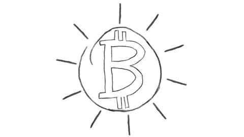animated bitcoin symbol, chalk stroke on a white background, ideal for ビデオ