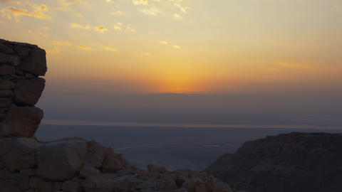 Sunrise from the top of Masada fortress ビデオ