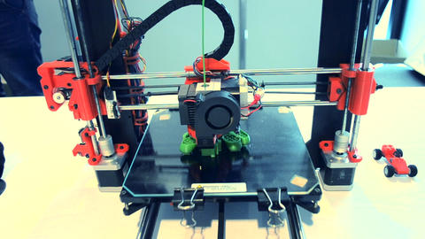 Automatic 3D printer performs plastic modeling in laboratory Footage
