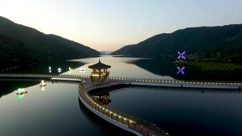 Aerial View of Okyeonji Songhae Park , Dalseonggun, daegu, Gyeongsangbukdo, Footage