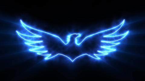 Blue Burning Eagle Logo with Reveal Effect and Light Rays Stock Video Footage