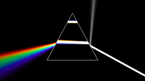 Prism separating a ray of light into the seven colors of the spectrum. Light Footage