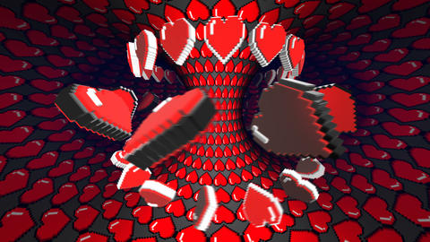 8 bits pixel heart tunnel animation. Retro arcade video game Valentine´s Day Animation