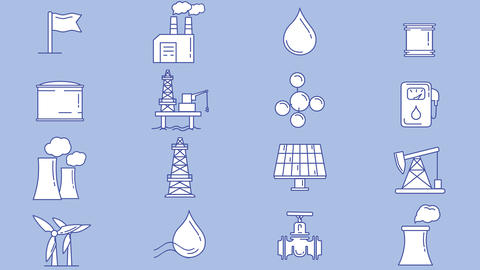 Set of industrial and infrastructure objects icons Animation