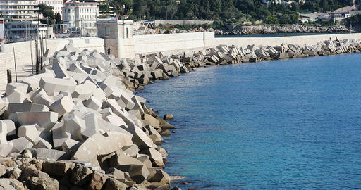 Concrete Tetrapods Protect The Beach In Nice france Live Action