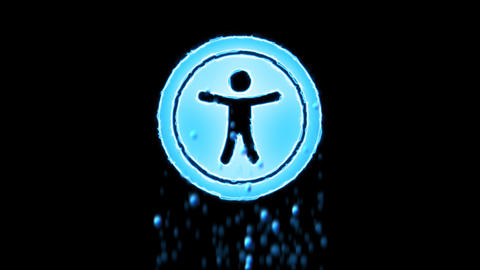 Liquid symbol universal access appears with water…, Stock Animation