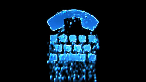 Liquid symbol tty appears with water droplets. Then dissolves with drops of Animation