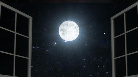 Night sky and Moon seen through opened windows CG動画素材