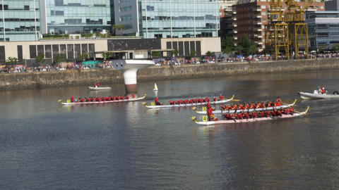 Dragon row boats competition for the celebration of Chinese new year Footage