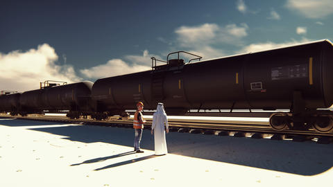 Oil worker and Arab Sheikh talking on the background of a passing Rail tank cars CG動画素材