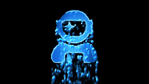 Liquid symbol user astronaut appears with water droplets. Then dissolves with Animation